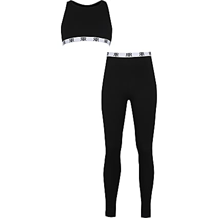 Girls black RIR crop top and legging set