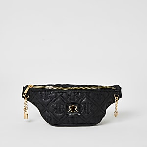 Girls black RIR embossed bumbag