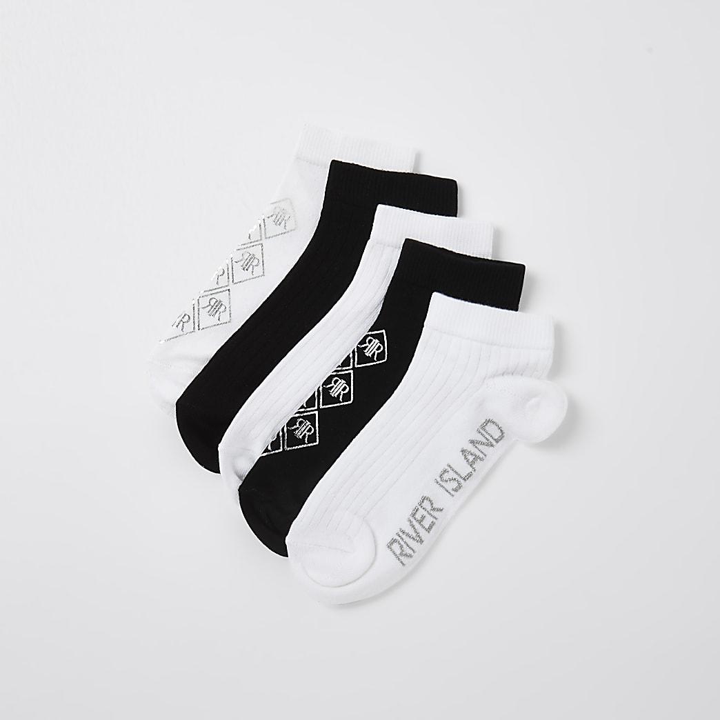 Girls black RIR foil logo socks 5 pack