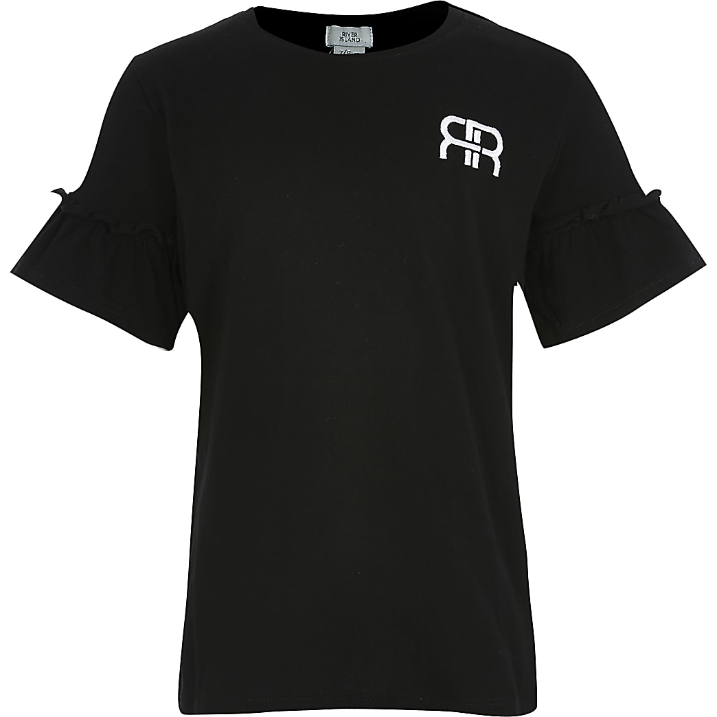 Girls black RIR frill sleeve t-shirt
