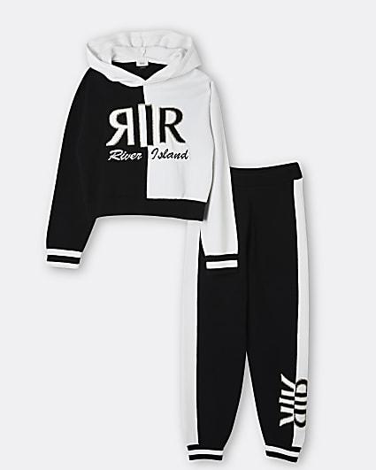 Girls black RIR hoodie and joggers set