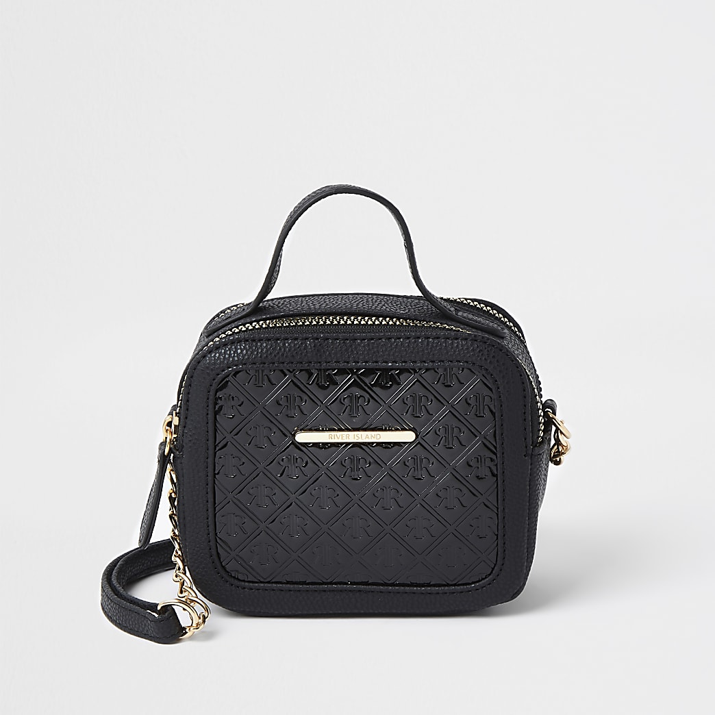 Girls black RIR monogram cross body bag