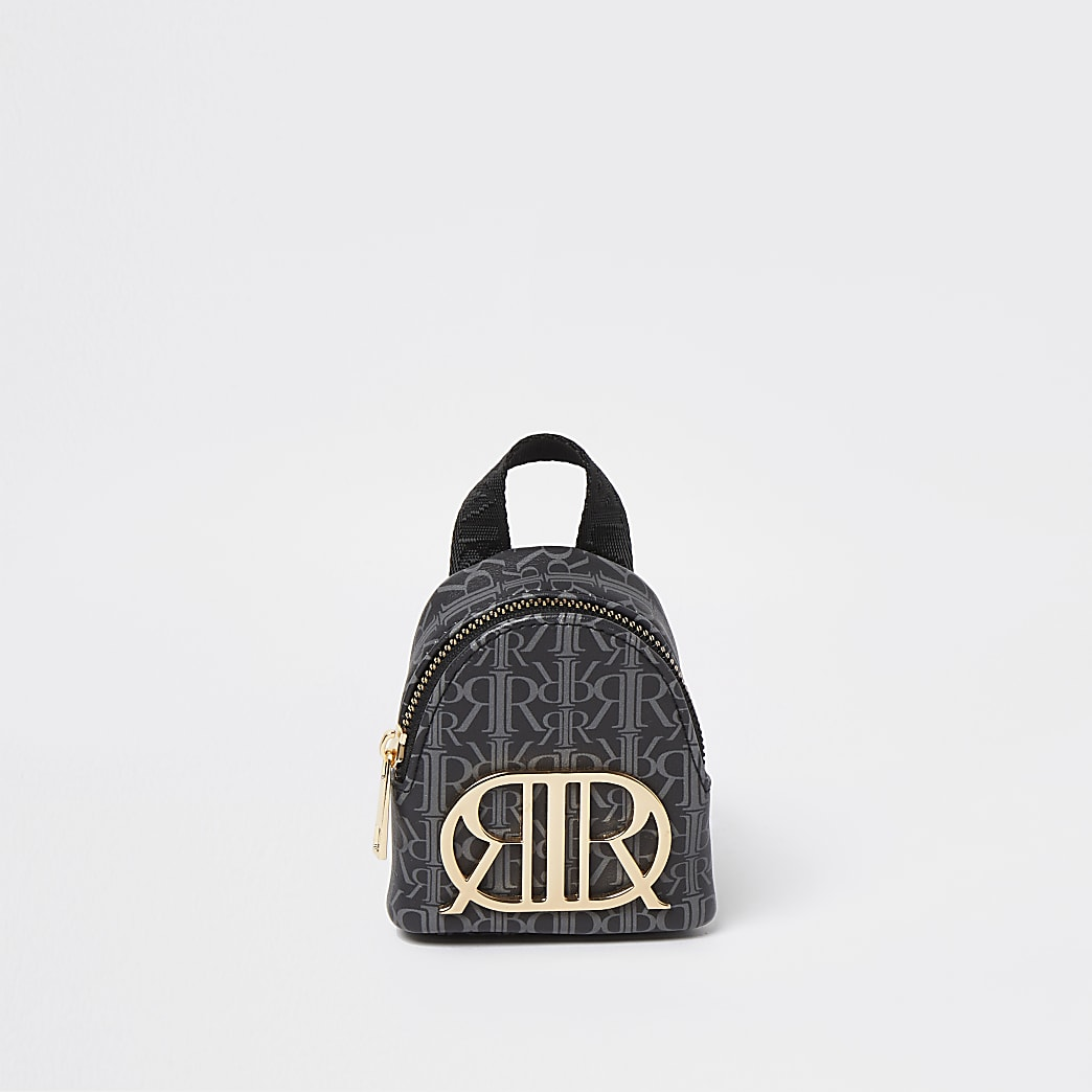 Girls black RIR monogram mini cross body