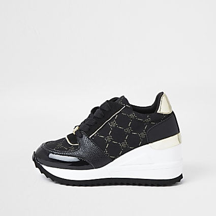 Girls black RIR monogram wedge trainers