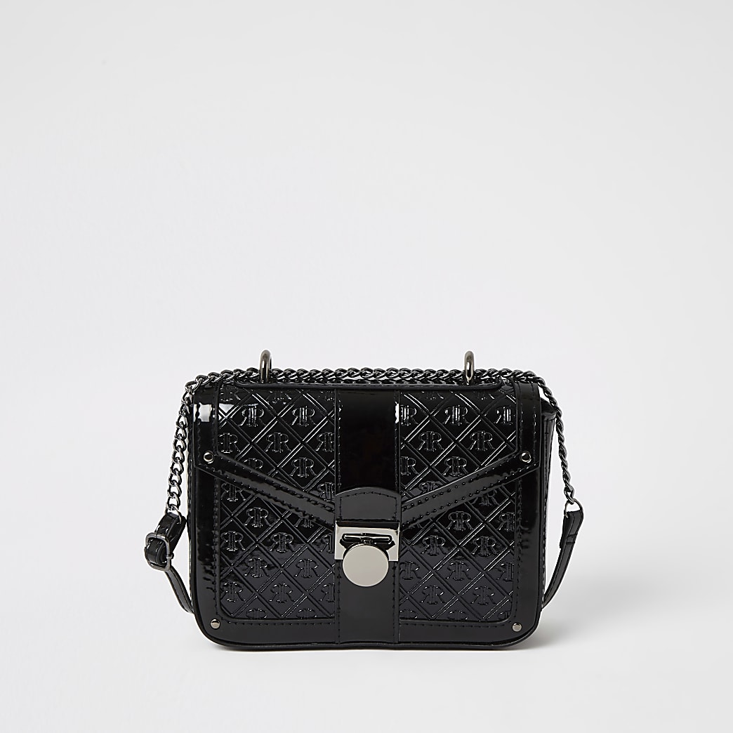 Girls black RIR patent cross body bag
