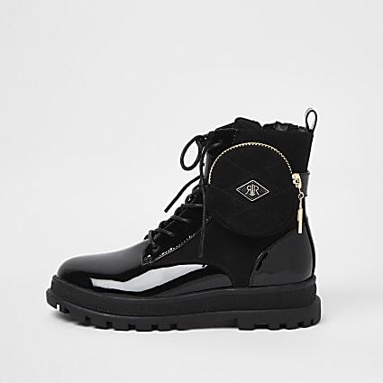 Girls black RIR pocket lace up boots