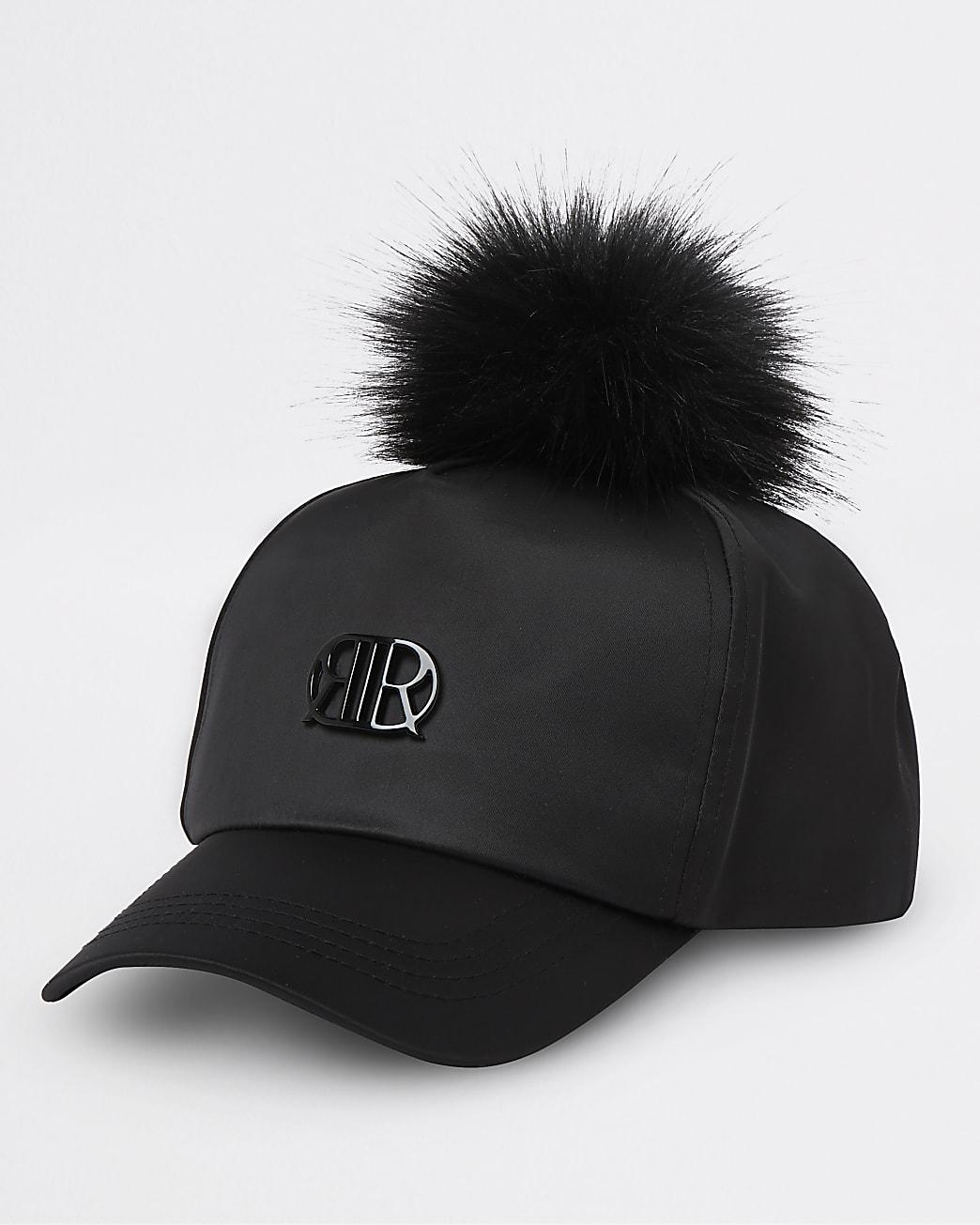Girls black RIR satin pom pom cap