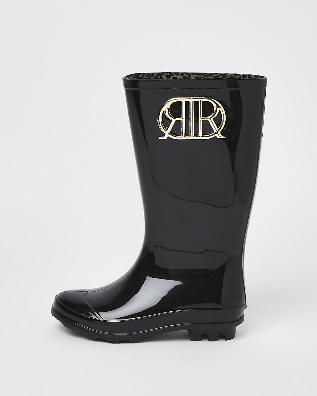Girls black RIR wellie boots