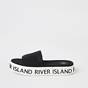 River Island - Plattform-Hausschuhe für Mädchen in Schwarz