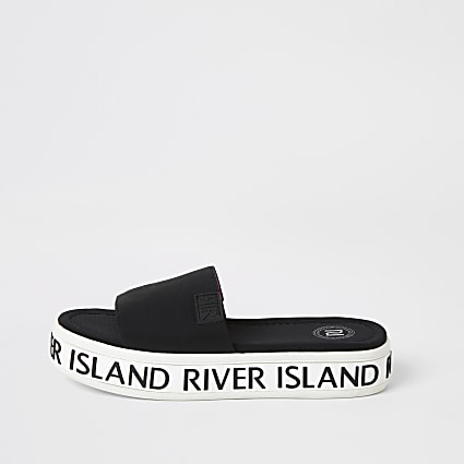 Girls black 'River Island' flatform sliders