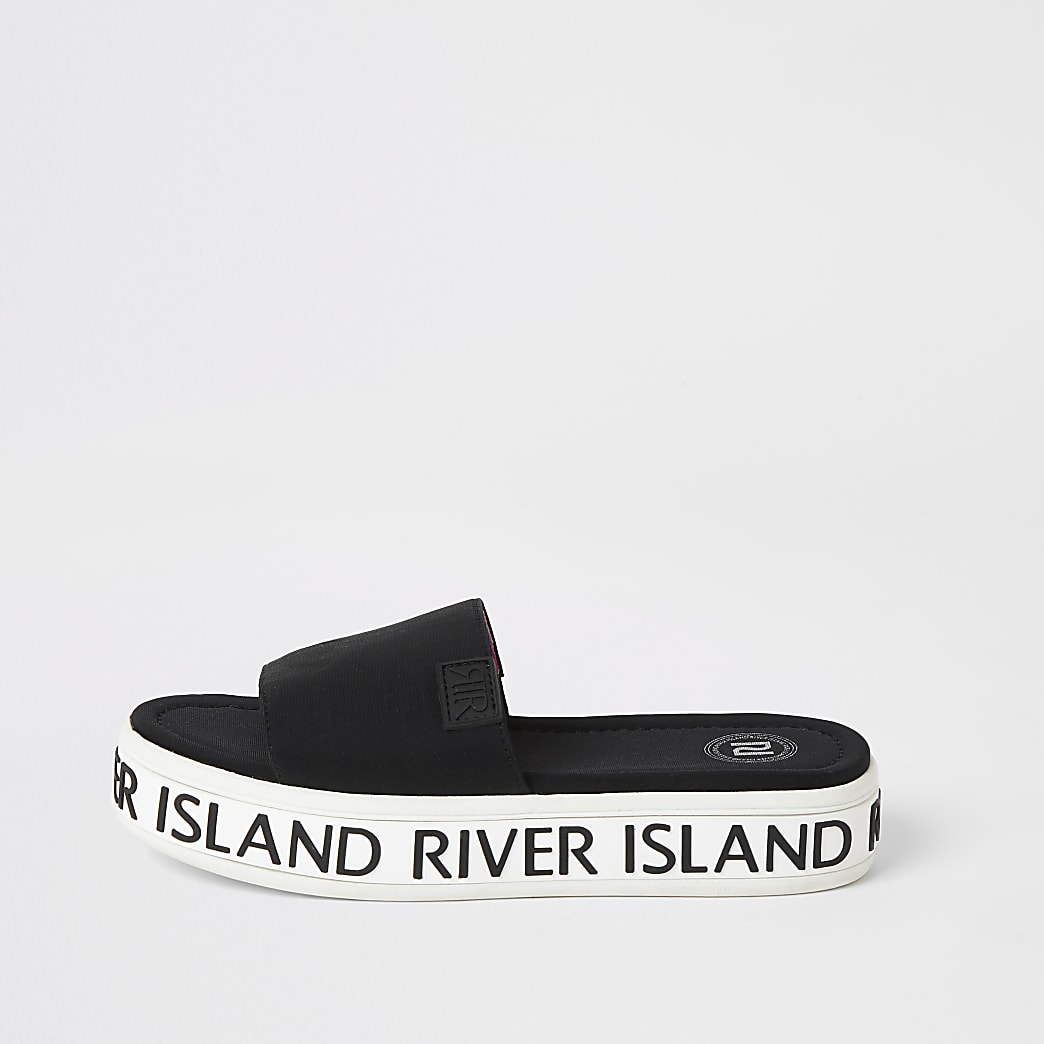Girls black 'River Island' flatform sliders