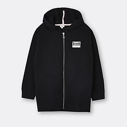 Girls black River longline hoodie