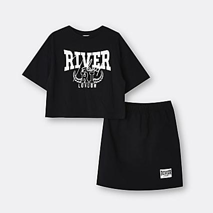 Girls black River t-shirt and skirt set