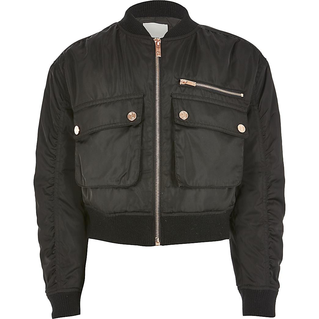 Girls black rose gold button bomber jacket