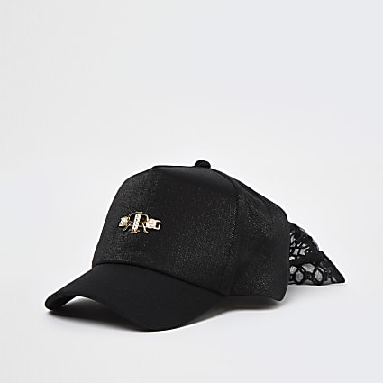 Girls black RR bow back cap