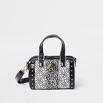 Girls black RR monogram bag