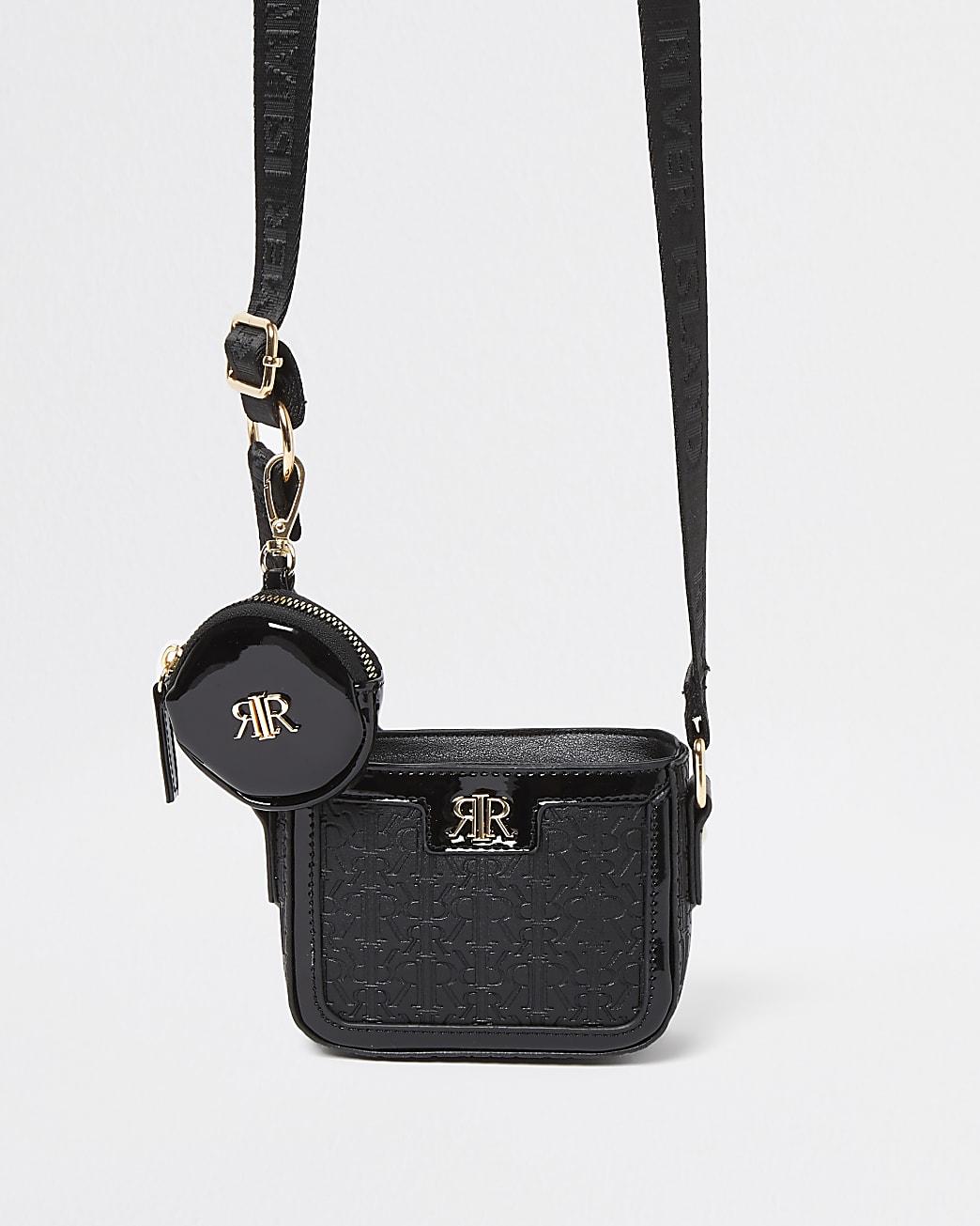 Girls black RR monogram crossbody & purse