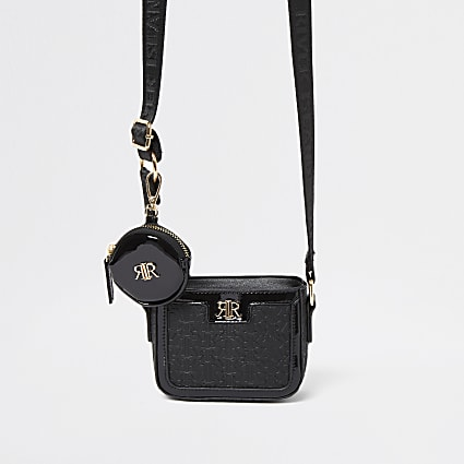 Girls black RR monogram crossbody & purse