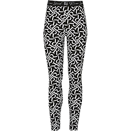 Girls black RR monogram leggings