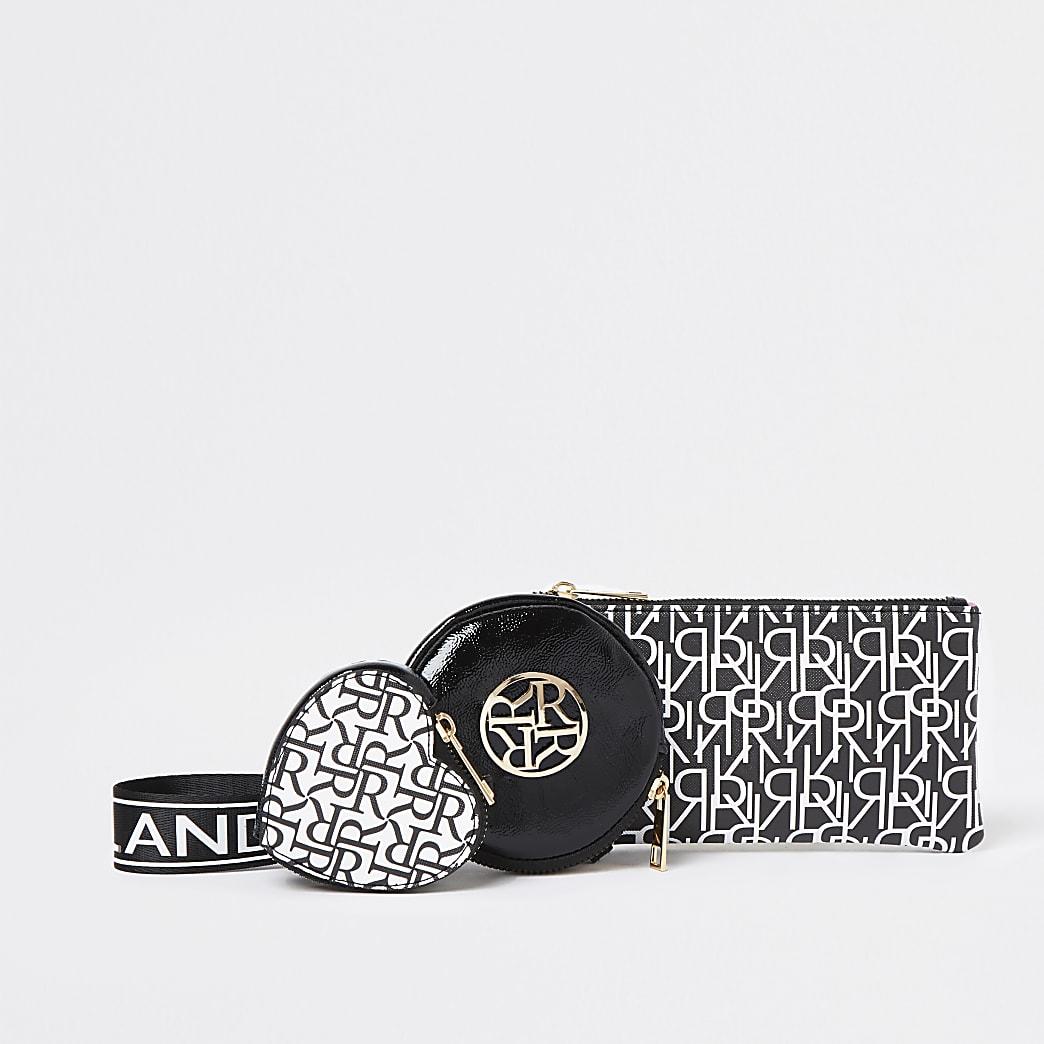 Girls black RR monogram triple pouch purse