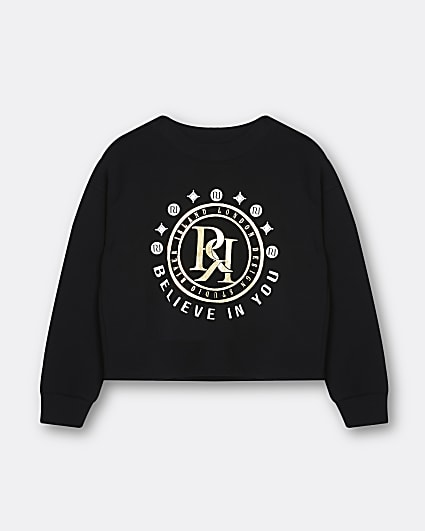 Girls black RR print sweatshirt