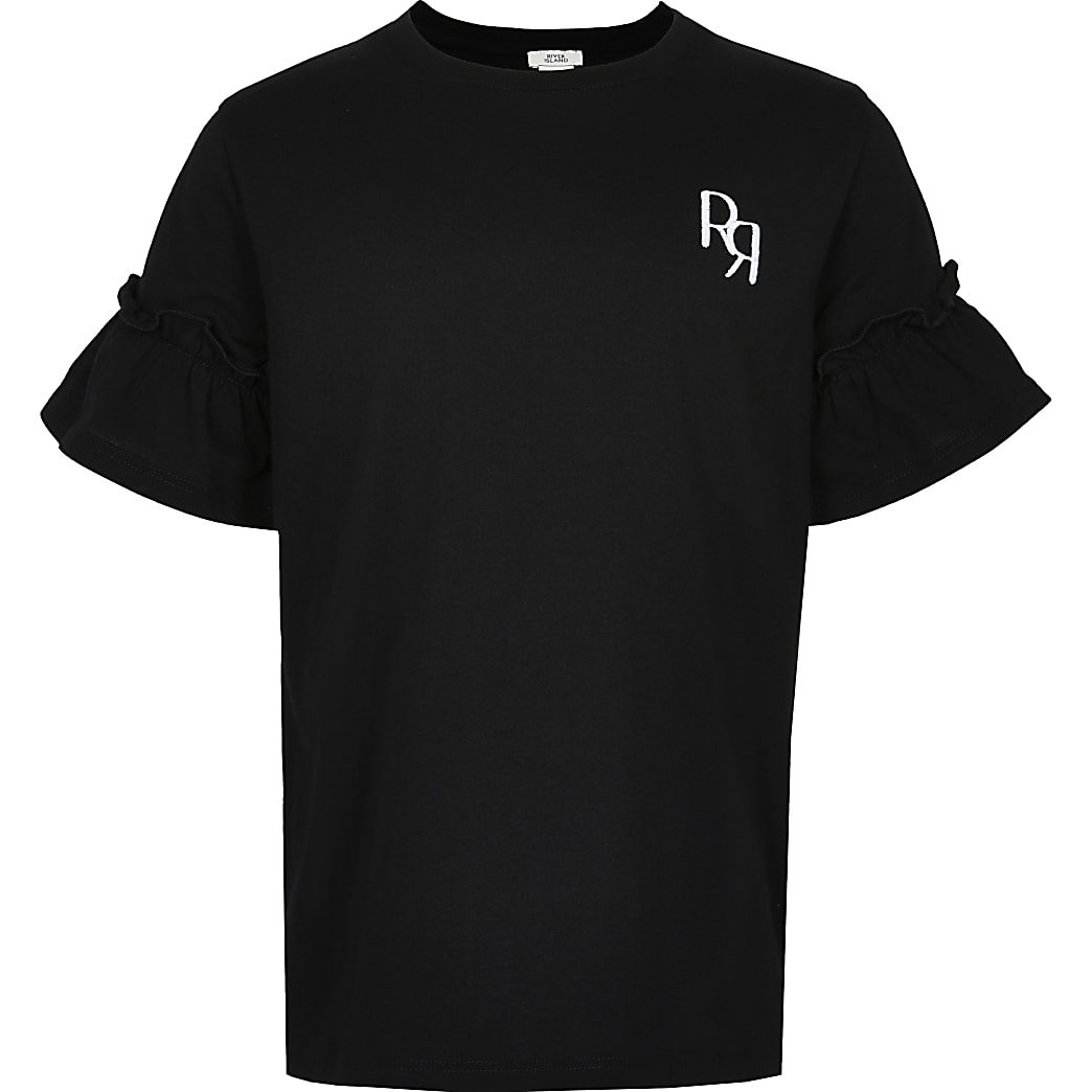Girls black RR ruffle sleeve t-shirt