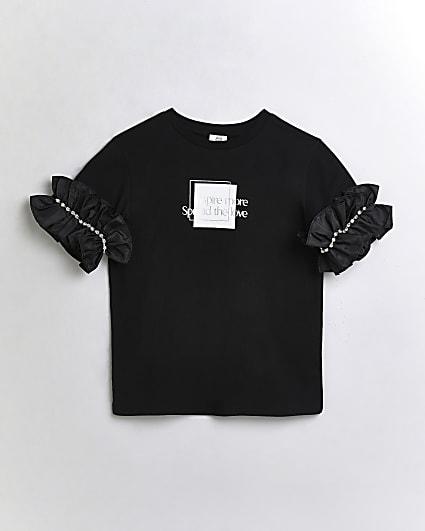 Girls black ruffle embellished t-shirt