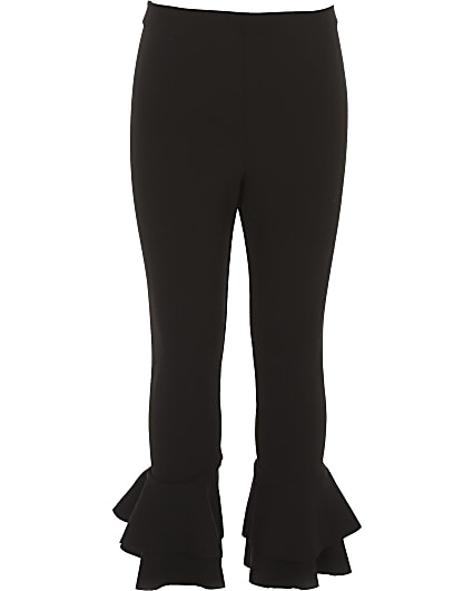 Girls black ruffle hem leggings
