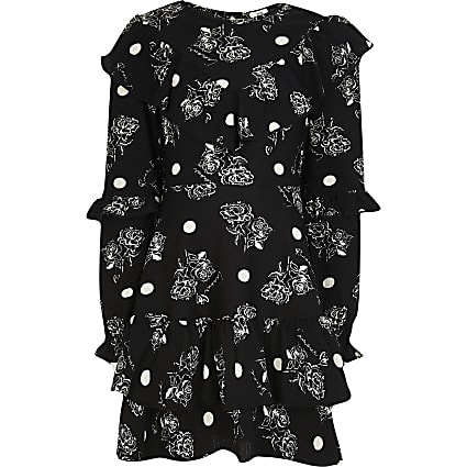 Girls black ruffle neck skater dress