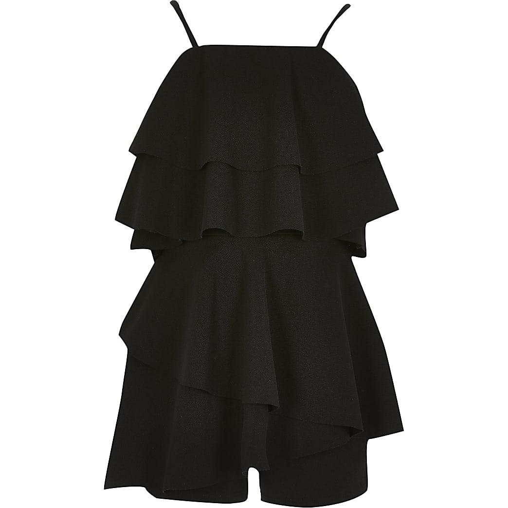 Girls black ruffle sleeveless playsuit