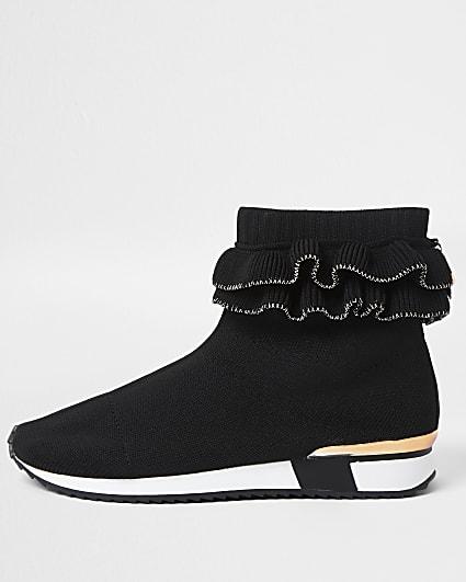 Girls black ruffle sock trainer