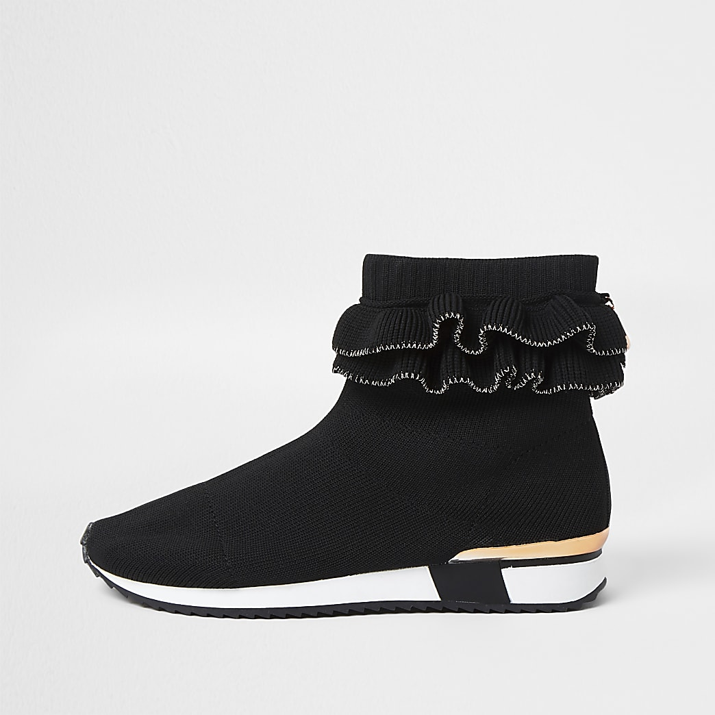 Girls black ruffle sock trainer