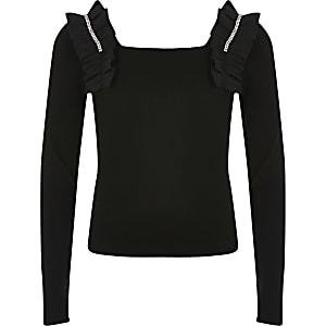 Zwarte cropped top met open hals en ruches voor meisjes