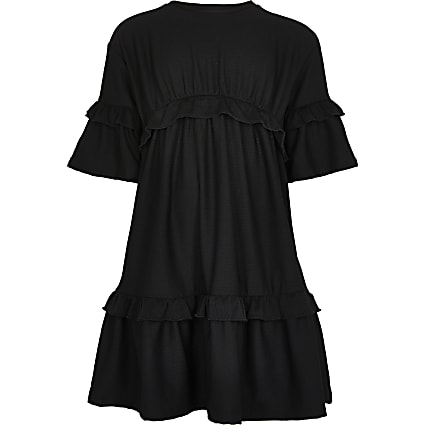 Girls black ruffle t-shirt dress