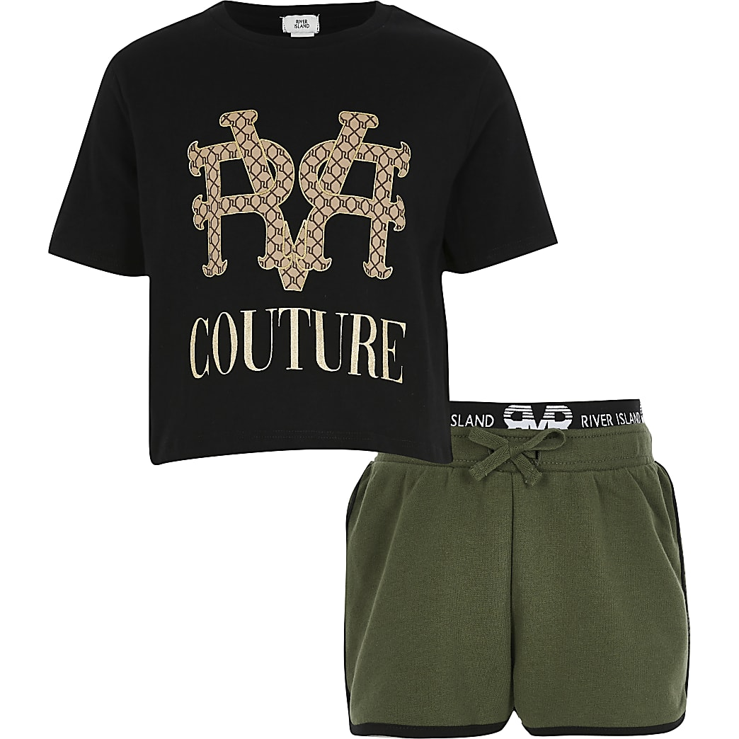 Girls Black 'RVR couture' t-shirt outfit