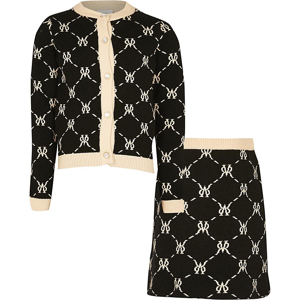 Girls black RVR diamond monogram skirt set