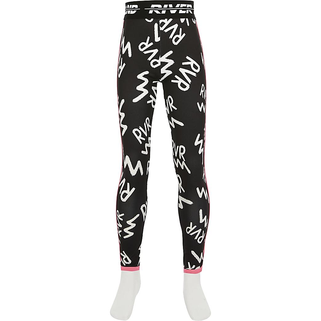 Girls black RVR print Active leggings