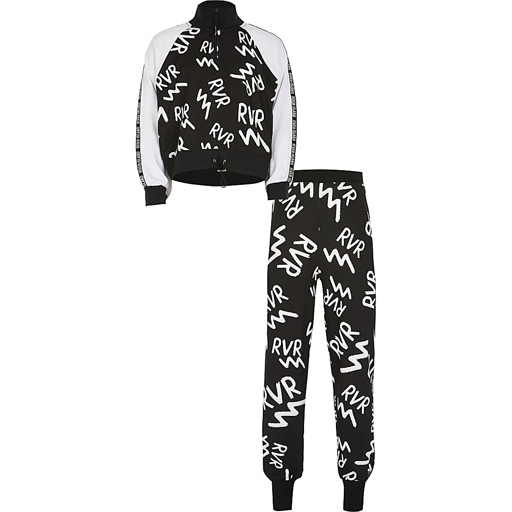 Girls black RVR print Active tracksuit