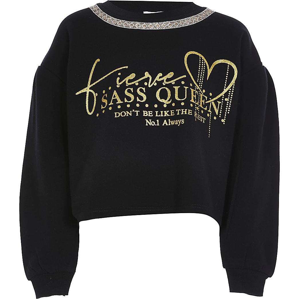 Girls black 'Sass queen' sweatshirt