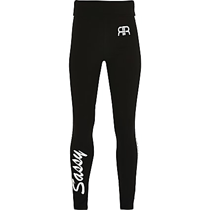 Girls black 'Sassy' foldover waist leggings