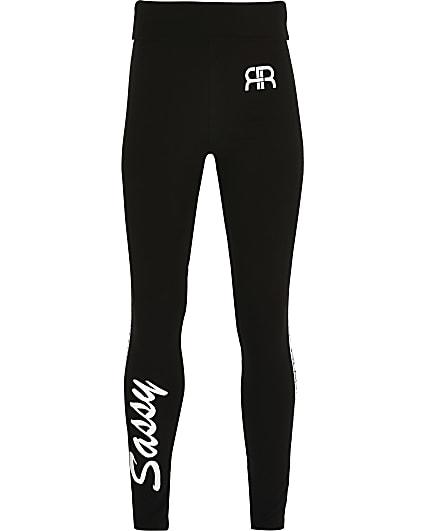 Girls black 'Sassy' foldover waist leggings