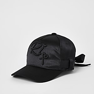 Girls black satin belted cap