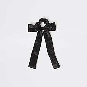 Zwarte satijnen scrunchie haarband met strik voor meisjes