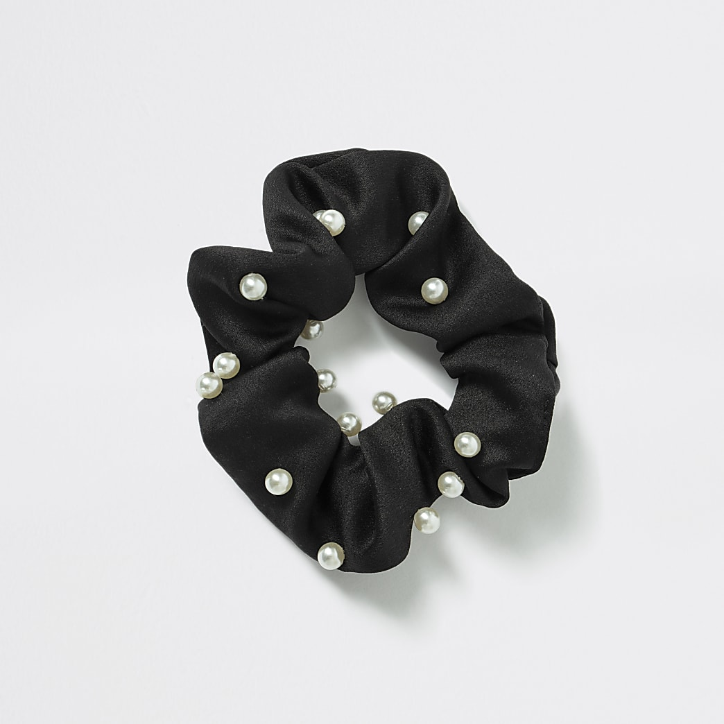 Girls black satin pearl scrunchie