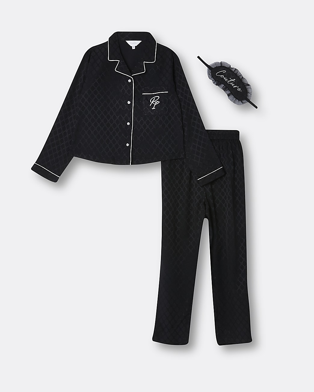 Girls black satin RI monogram pyjama set