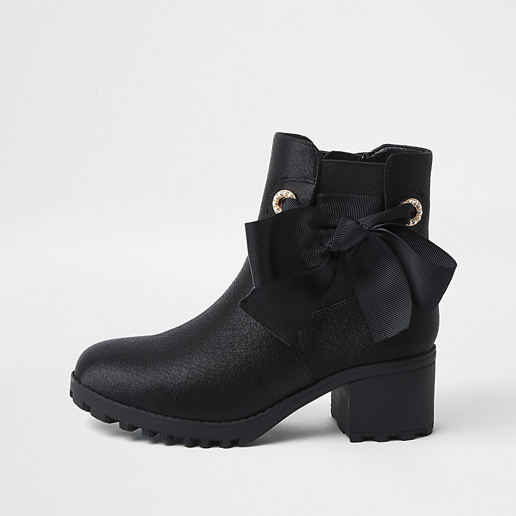 Girls black satin snake bow boots