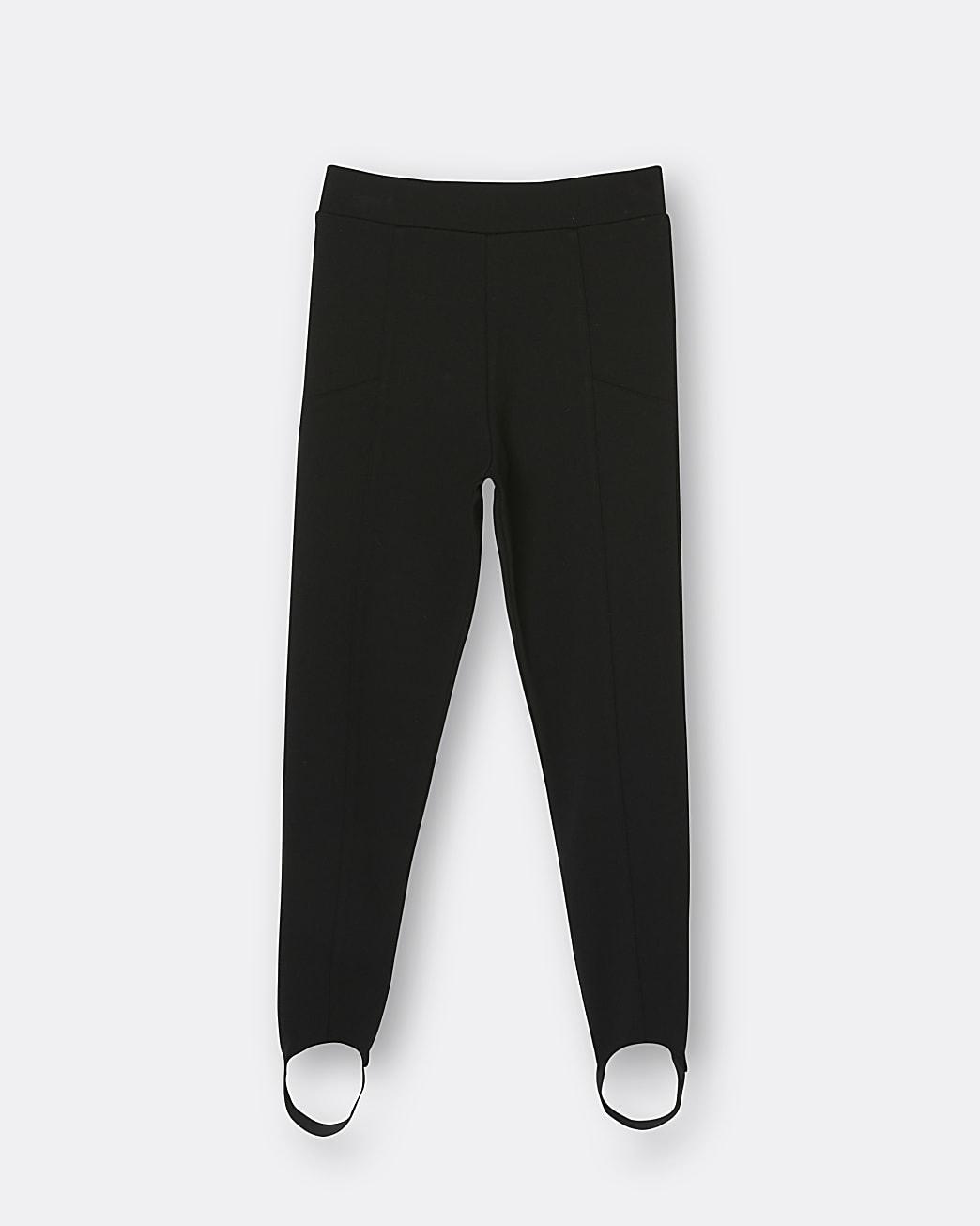 Girls black seam detail stirrup leggings