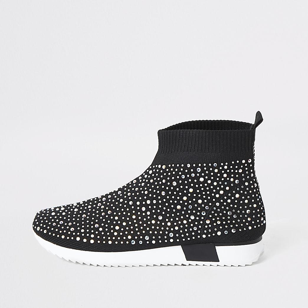 Girls black sequin embellished sock trainers