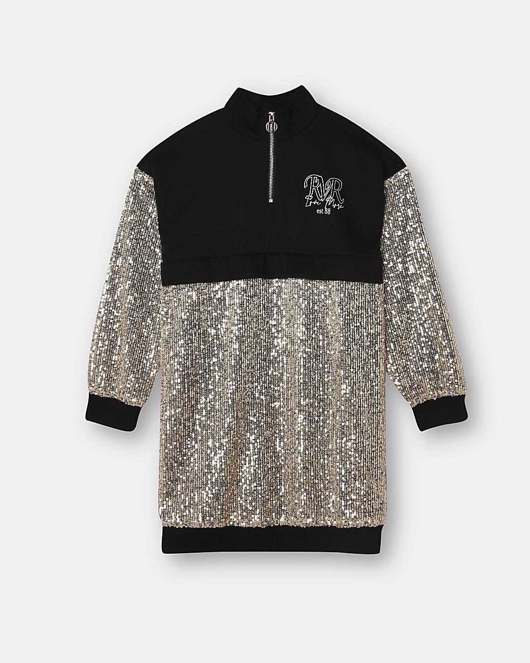 Girls black sequin funnel neck sweater dress