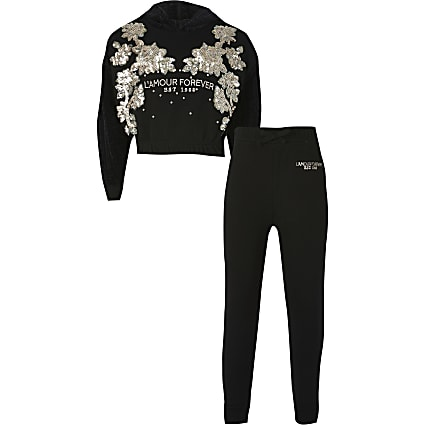 Girls black sequin hoodie tracksuit
